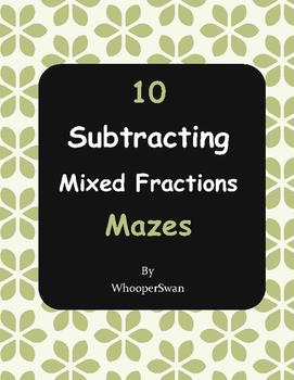 Subtracting Mixed Fractions Maze