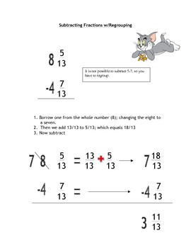 Subtracting Mixed Fractions with Regrouping