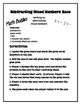 Subtracting Mixed Numbers Race - Math Workstation Game