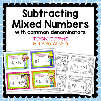 Fraction Task Cards - Subtracting Mixed Numbers with Commo