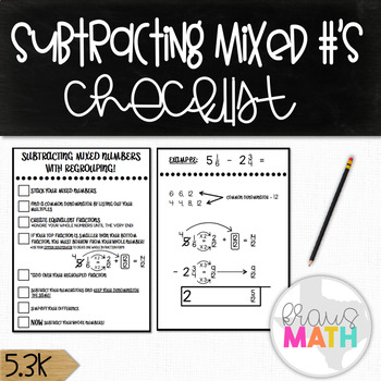Subtracting Mixed Numbers with Regrouping: Checklist! (GRA