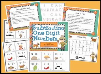 Single Digit Subtraction Math Center Station Game