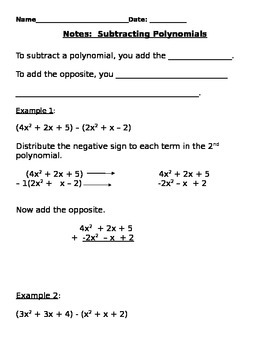 Subtracting Polynomials Notes and Assignments