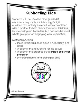 Subtracting Practice With Dice