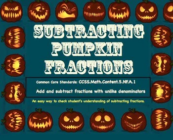Subtracting Pumpkin Fractions - Easy & Fun Way to Check St