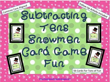 Subtracting Tens Sowmen Card Game Fun (Common Core Aligned)