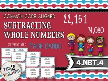 Subtracting Whole Numbers Task Cards - 28 CCSS Aligned Mid