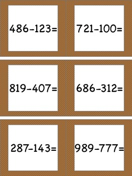 Subtracting Within 1,000 (No Regrouping) Task Cards