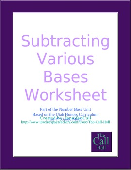 Day 9 - Subtracting in Various Bases Worksheet