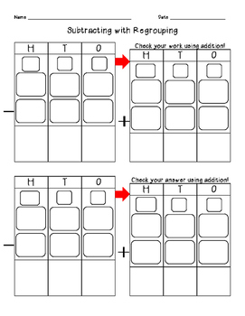 Subtracting with Regrouping Graphic Organizer