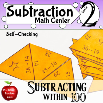 Subtracting within 100 Math Center with regrouping