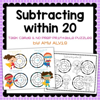 Subtracting within 20 Task Cards & NO PREP Printable Puzzles