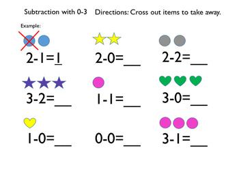 Subtraction 0-3, kindergarten, first grade, visual