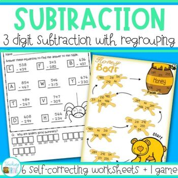 Subtraction -  3 digit with regrouping