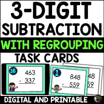 Three-Digit Subtraction WITH Regrouping Task Cards