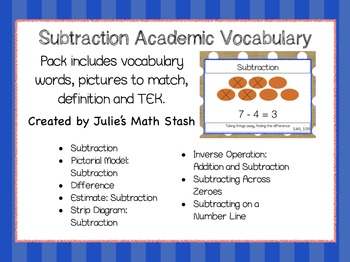 Subtraction Academic Vocabulary