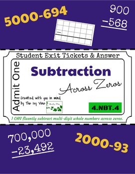 Subtraction Across Zeros - Exit Tickets & Answers - 4.NBT.
