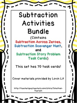 Subtraction Activities Bundle - 70 Task Cards from 3 Diffe