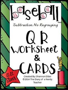 Subtraction Baseball - QR Subtraction of two digits NO reg