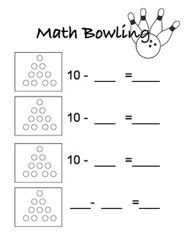 Subtraction Bowling Score Card