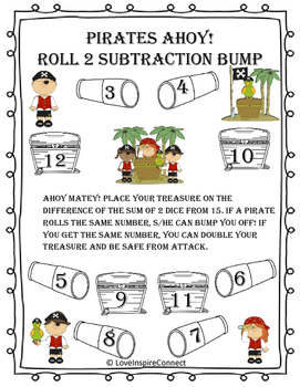 Subtraction Bump Game: Pirate Theme