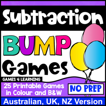 Subtraction Bump Games [Australian UK NZ Edition]