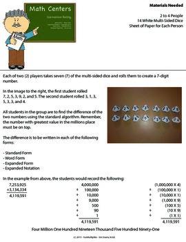 Subtraction Center - Basic