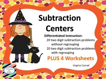 Subtraction Centers---two digit set without and two digit