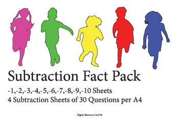 Subtraction Challenge Sheets 1-10 (4 Tests per sheet)