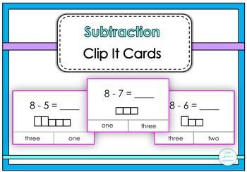 Subtraction Clip It Cards