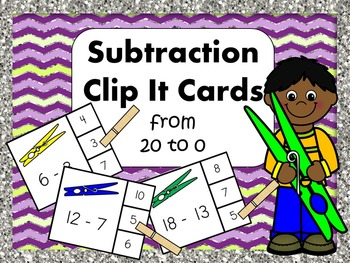 Subtraction Clip It Cards From 0 to 20