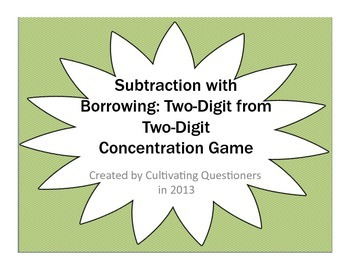 Subtraction Concentration: Two-Digit from Two-Digit with B