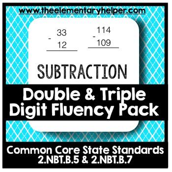 Subtraction Double & Triple Digit Fluency Pack: Second Grade