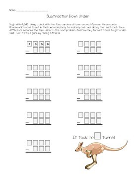 Subtraction Down Under - Multi-digit Subtraction Game