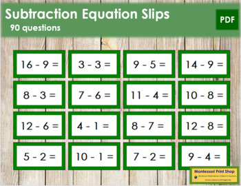Subtraction Equation Slips - color coded