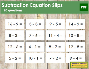Subtraction Equation Slips