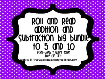 Subtraction Equations-Roll and Read Bundle to 5 and 10