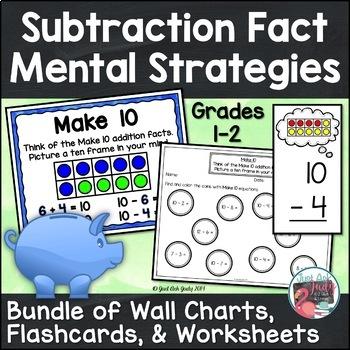 Subtraction Fact Strategy Bundle of Anchor Charts, Flashca