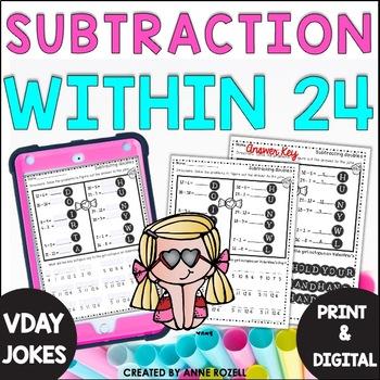 Subtraction Fact Practice with Valentine Jokes