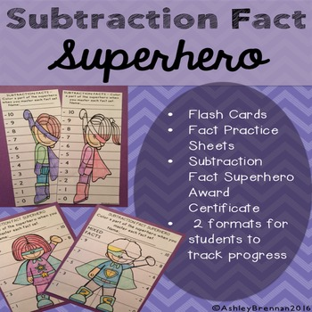 Subtraction Fact Superhero-Fact tracking system - flash ca