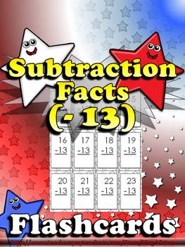 Subtraction Facts (- 13) Flashcards - King Virtue