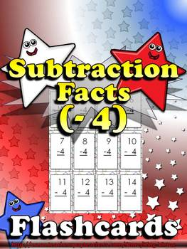 Subtraction Facts (- 4) Flashcards - King Virtue