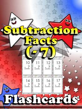 Subtraction Facts (- 7) Flashcards - King Virtue