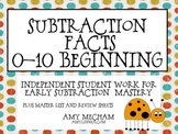Subtraction Facts Beginners 0-10 Mega Pack