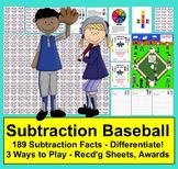 Subtraction Facts Math Center Activities Baseball-4 Ways t
