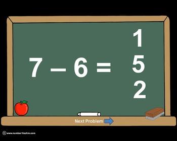 Subtraction Facts PowerPoint Quiz - Matching Worksheet & K