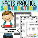 Subtraction Facts Practice Worksheets
