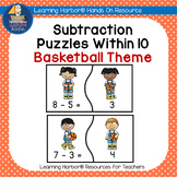 Basketball Math Subtraction Fact Fluency Puzzles for Kinde