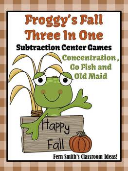 Fall with Froggy Center Games for Subtraction