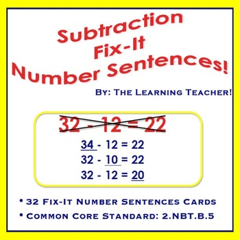 Fix-It Number Sentences (Subtraction) Task Cards!